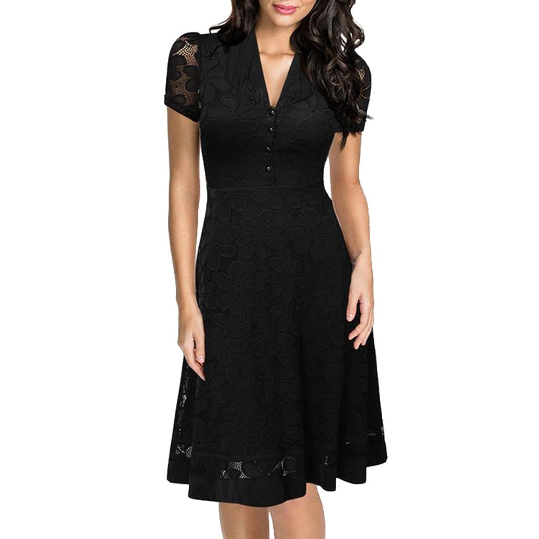 Brinny Damen Elegant Sommerkleid V-Ausschnitt Kurzarm Business ...