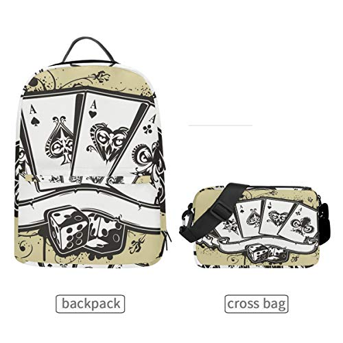 (DEZIRO Craps Poker King Bookbag with Cross Bag Set Backpacks)