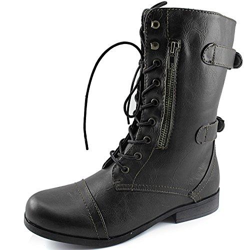 Dailyshoes Kvinners Evan-10 Ankel Glidelås Stropp Militært Stridsstøvler, 5 B (m) Oss