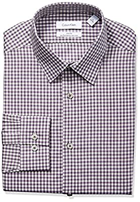 Calvin Klein Men's Non Iron Stretch Slim Fit Check Point Collar Dress Shirt