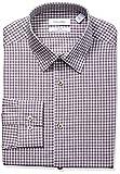 Calvin Klein Mens Non Iron Stretch Slim Fit Check Point Collar Dress Shirt