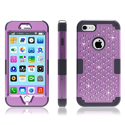 iPhone 7 Case, Speedup Diamond Studded Crystal Rhinestone 3 in 1 Hybrid Shockproof Cover Silicone and Hard PC Case for Apple iPhone 7 (2016 Released) (Deep Purple + (Ninja Turtles Who Is Who)