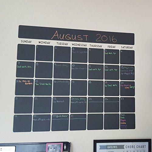 "Chalkboard vinyl calendar with black vinyl days of the week (23.5""W x 20.5""H)"