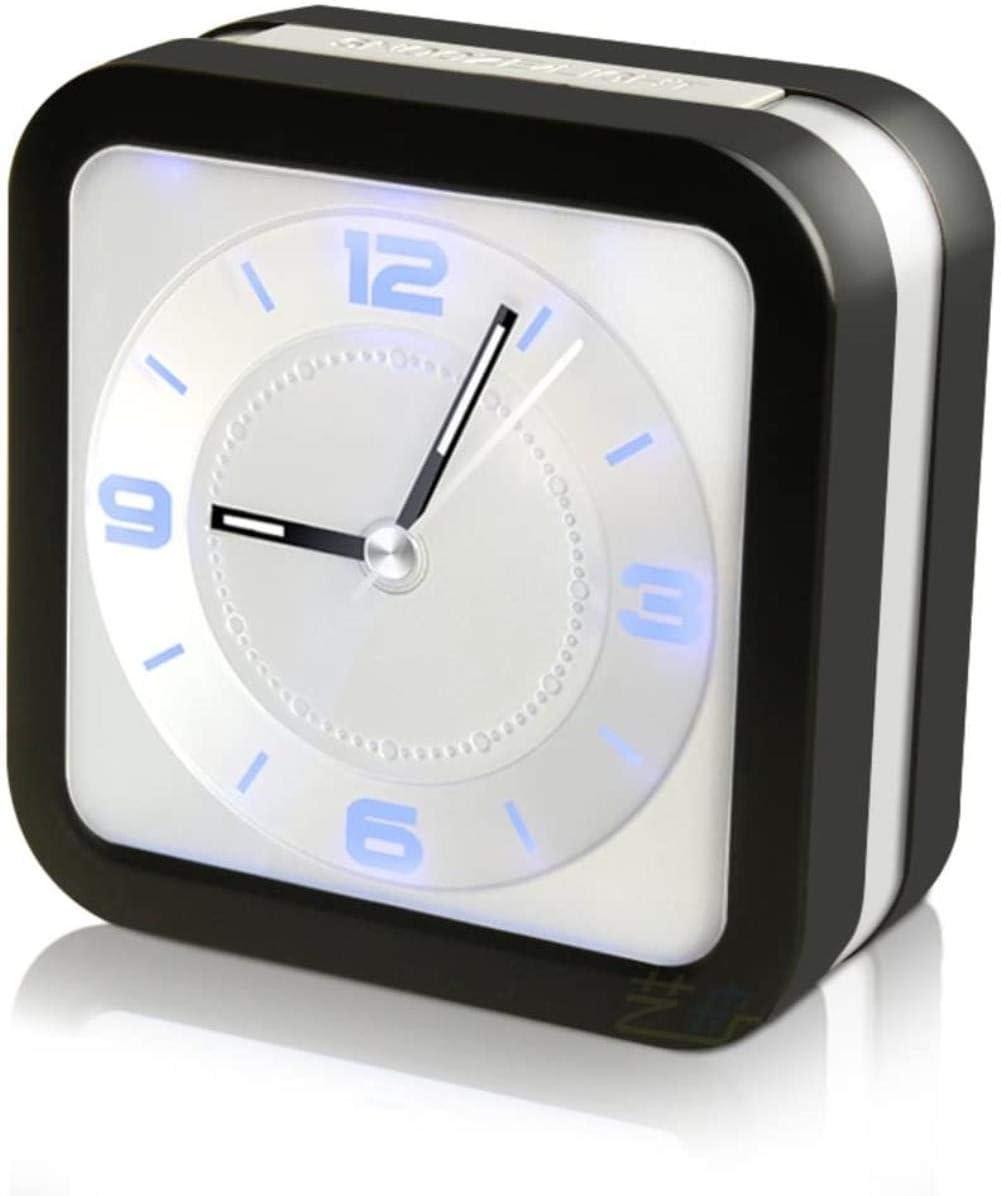 YDYDYD Mini Reloj clásico marcando Guardia de música Ligera Creativa Noche de la Moda Reloj Digital Utiliza el sueño Pesado, no sueño con de Acuerdo con el Reloj de Mesa Blanco batería,Negro