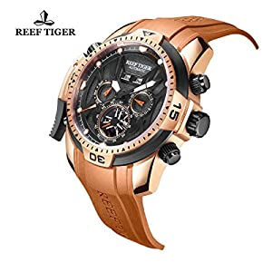 Reef Tiger Sport Luminous Mens Rose Gold Case Automatic Watch RGA3532