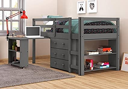 Amazon Com Donco Kids 760 Tdg Low Loft Bed With Desk Twin Dark Grey