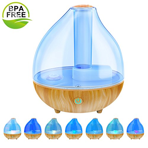 Ultrasonic Cool Mist Humidifier, ALIWELL 1.7L Air Humidifiers Essential Oil Diffuser for Office Home Bedroom Automatic Shut-Off Whisper Quiet Operation with 7 Color Soft Night Lights by ALIWELL