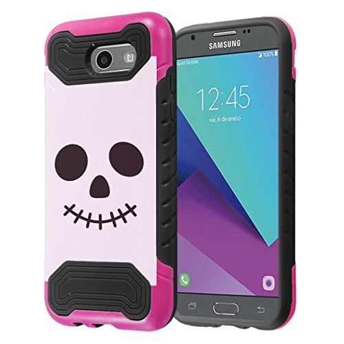 Capsule Case Compatible with Samsung Galaxy J3 Prime 2017, Galaxy J3 Emerge, Galaxy J3 2017 (SM-J327), Express Prime 2, Amp Prime 2, Eclipse, Luna Pro, Mission, Sol 2 - (Halloween Skull) ()