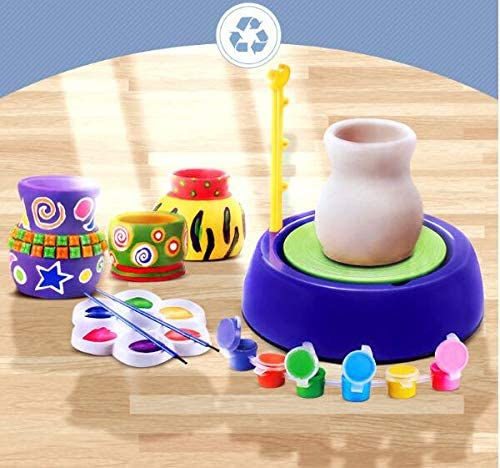 DIY Educational Toy Riiai Pottery Wheel Kit Creative DIY Pottery Wheel Imaginative Arts Crafts Ceramic Pottery Wheel for Kids Children Beginners