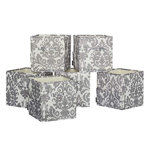STORAGE MANIAC 6-Pack Foldable Storage Cubes Basket Bins with Side Pockets, Full Coroplast Storage Organizer Drawers with Extra Thick Fabric, Metallic Grey Flower -