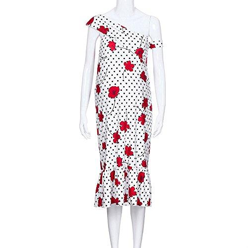 Volantes Mujer Boda Noche Blanco Fiesta Largo Elegantes Impresión de Hombro Vestido Vestido Mujeres de de Floral Cóctel Ofertas Mujer Embarazadas Gusspower Vestido para Largo Vestido 0XFpwp