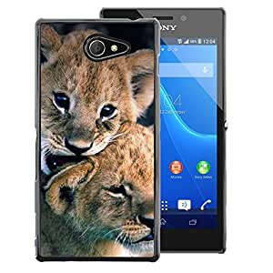 A-type Arte & diseño plástico duro Fundas Cover Cubre Hard Case Cover para Sony Xperia M2 (Lion Cub Puppy Fur Baby Nature Animal)
