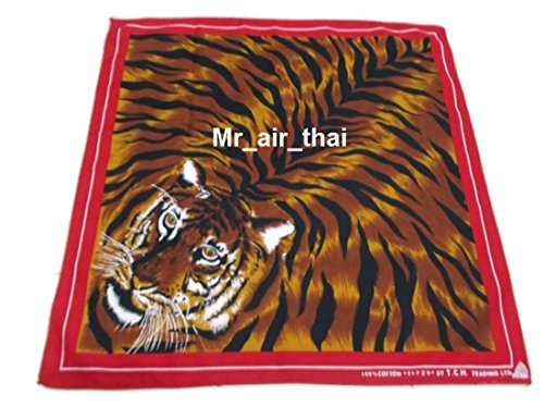 Red Cotton Handkerchief Animal Tiger Scarf Bandana Headband Mens Women Lady (Tiger Cotton Belt)