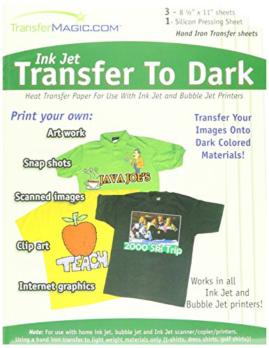 - Transfer 8-1/2-Inch by 11-Inch Magic Ink Jet Transfer Paper for Dark Fabric, 3-Pack