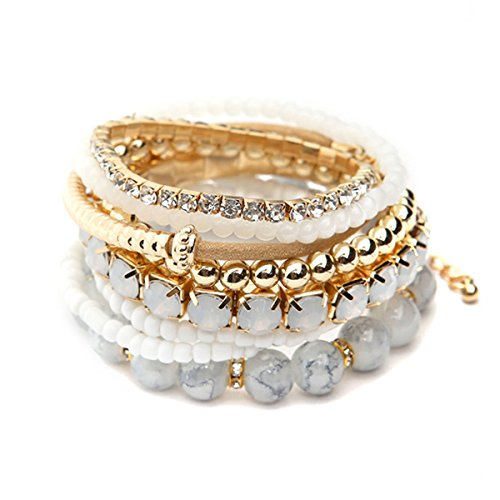 RIAH FASHION Multi Color Stretch Beaded Stackable Bracelets - Layering Bead Strand Statement Bangles (Natural)