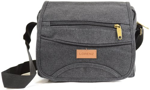 Messenger' Bag Black Travel Shoulder Ladies Green Style 'Small Mens Brown Khaki Work Black Canvas Grey X8Zqn4w