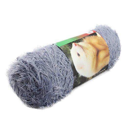Celine lin One Skein Long-haired Fluffy Mink Eyelash Feather Knitting Yarn Fur Hand-Woven Yarn,Blue Grey - Fancy Fur Yarn