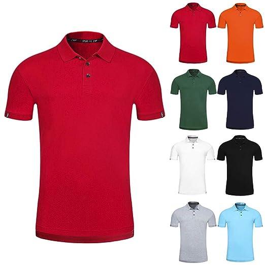 786ea4e6e Qinnyo Men s Tshirt for Men Tops Fashion Summer Solid Poloshirt Turn-Down  Short Sleeve T-Shirt Blouse Tees 8 Color S-3XL at Amazon Men s Clothing  store