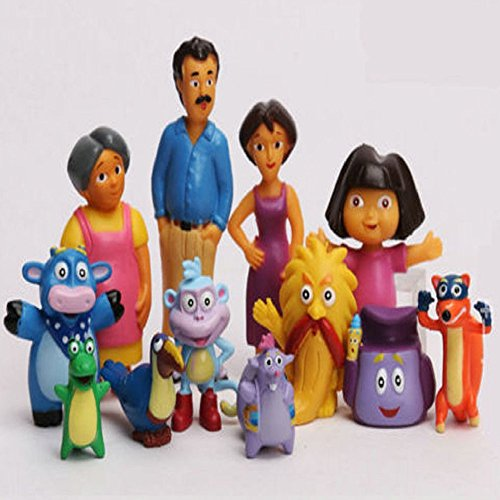 Kids Tooy - 12 PCS Action Figures Toys - Dora the Explorer Boots Swiper Grumpy Benny Tico Isa 12 PCS Action Figures Toys - Perfect Birthday Gifts - Toy for Baby, Kids and Toddler (Dora Explorer Ornaments The)