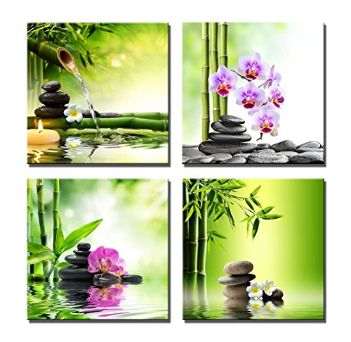 iPainting Vibrant Spa Themed Wall Art Green Bamboo Flowers Massage Stones Canvas Paintings Framed-4 Panel -