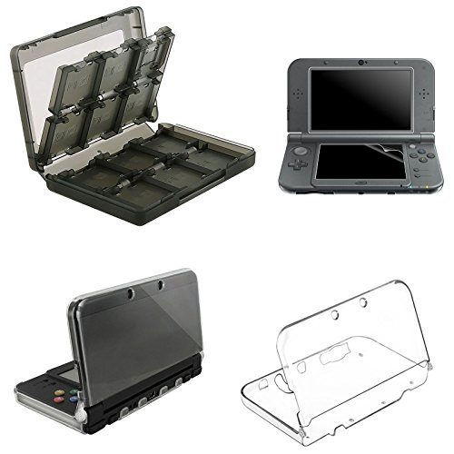 EEEKit-Clear-Cover-Case-Screen-Protector-28-in-1-Game-Card-Case-Holder-Cartridge-Box-for-New-Nintendo-3DS-XL-LLTopBottom-LCD-ScreenProtective-Case