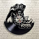 Flawless workshop 1Piece Black Pug with Bone Vinyl Record CD Wall Clock Antique Style Shadow Art 3D Dog Decorative Hanging Watches Decor