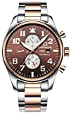 CARNIVAL Men's Complications Mechanical Watch Automatic winding Power Reserve (Rose Gold Brown)