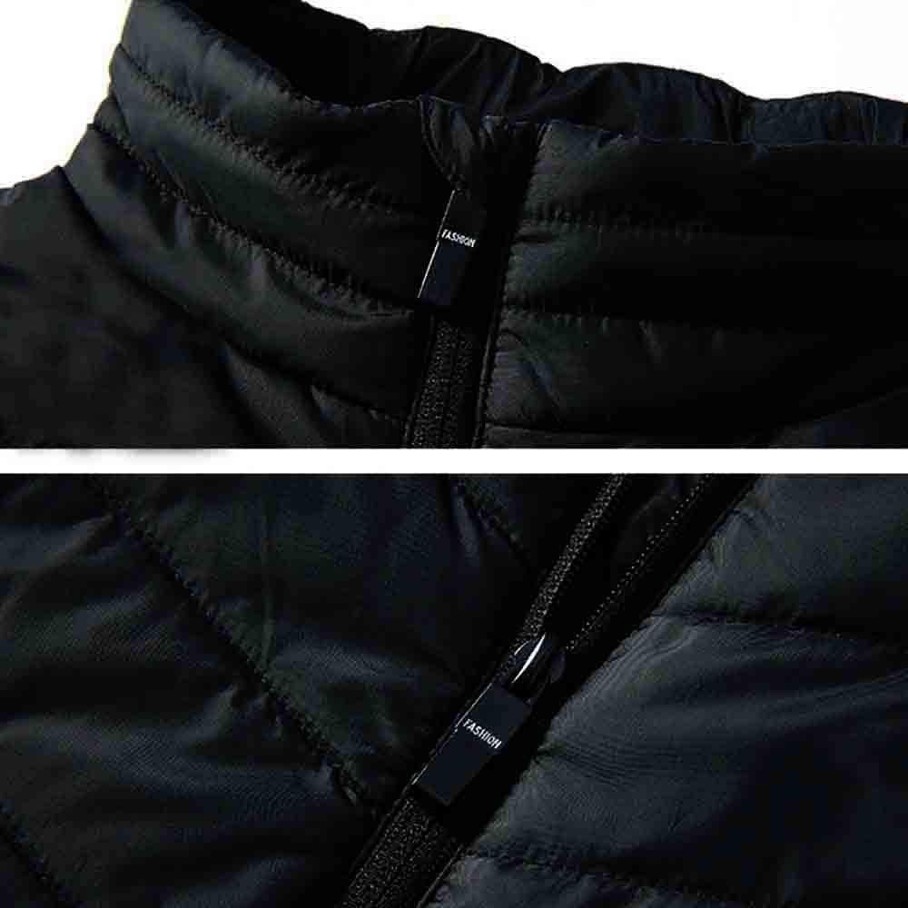 Men Winter Heated USB Coat Padded Cotton Vest Warm Hooded Thick Vest Tops Jacke