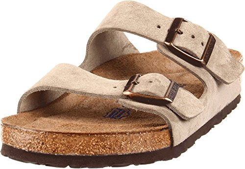 Birkenstock Arizona Soft Footbed Suede Narrow Sandal - Women's Taupe Suede, 39.0 (Birkenstock Soft Sandals)