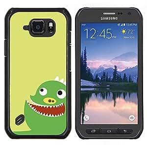 For Samsung Galaxy S6Active Active G890A Case , Divertido monstruo verde lindo- Diseño Patrón Teléfono Caso Cubierta Case Bumper Duro Protección Case Cover Funda