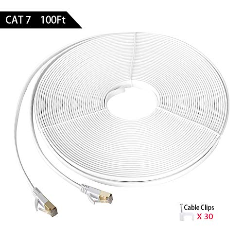 100ft Shielded Cat 7 High Speed Gigabit Internet Ethernet Network Cable for Gaming, Cloud Storage & Streaming HD, 4K, 8K. Computer, Router & Modem Cable, Faster Than Cat5, Cat5e & Cat6