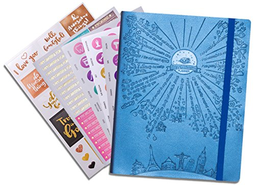 "Deluxe Law of Attraction Success Planner - Increase Productivity, Time Management, Passion & Happiness - Life & Week Planner & Gratitude Journal - Non dated (6.9"" x 9.8"") Rio Blue + Bonus Stickers"