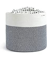 INDRESSME XXXLarge Cotton Rope Basket Woven Baby Laundry Basket for Blankets Toys Storage Basket with Handle Comforter Cushions Storage Bins Thread Laundry Hamper