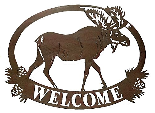 Cabin Lodge Decor Moose Welcome Sign, Metal Art, 20