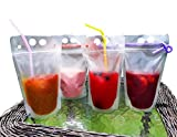 POUCHiT 50-pack reusable drink container set - Smoothie bags with straws - drink pouch with straw - Double zipper hand held BPA-free and non-toxic