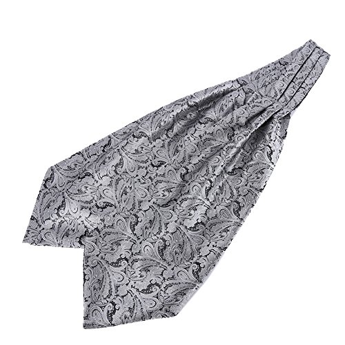 (ETOSELL Mens Retro Long Scarves/Cravat Ascot Ties Silver)