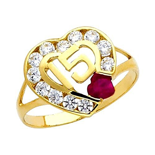 ''15 Anos'' CZ Ruby Yellow Gold Ring (14K)(8) by Quinceanera Jewelry