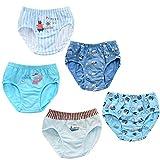 Children's underwear 5 Pcs Boy triangle shorts comfortable cotton children's underwear briefs (Navy boy)(5-7 Years)