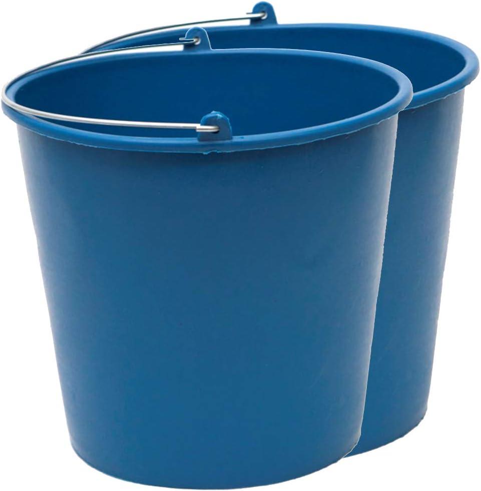 PACK de 2 cubos engomados de plástico reciclado (Azul) (12 litros)