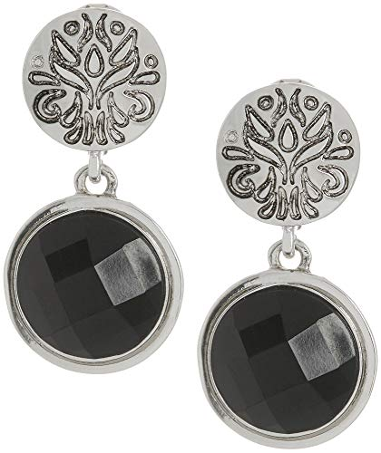 Napier Women's Jet Double Drop Clip On Earrings