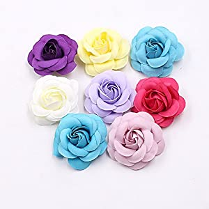 Artificial Flowers Fake Flower Heads in Bulk Wholesale for Crafts Rose Head Silk Rose Bud Wedding Decoration DIY Party Home Decor Wreath Headdress Accessories 20pcs 5cm 72
