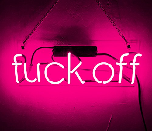 Sign Glow - Cool Decorative Signs Fuck OFF Real Glass Neon Light Sign PinkLamp