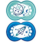MAM BPA Free Night Collection 6+ Months Glow in the Dark 2 Pack Pacifier - Blue Astronaut/Rocket 2PC