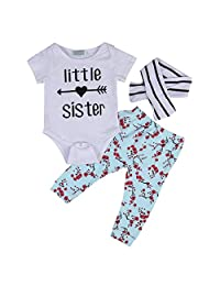3pcs Newborn Baby Girls Letter Romper+Plum Blossom Pants+Headband Outfits Set