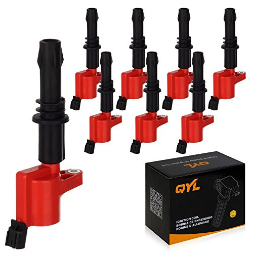 8Pcs Red Ignition Coil for Ford F150 F250 F350 F450 F550 Expedition Explorer Mustang Lincoln Mark LT Navigator Mercury Mountaineer V8 V10 5.4L 4.6L 6.8L DG511 FD508