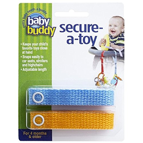Great Deal! Baby Buddy 2 Piece Secure-A-Toy Safety Strap, Blue/Gold