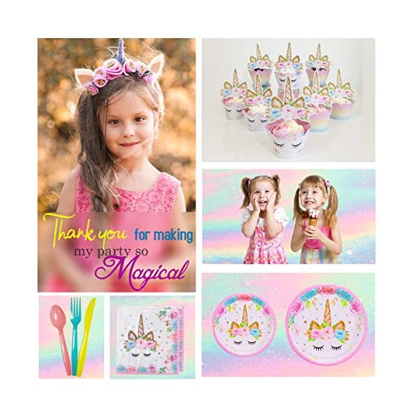ecoZen Lifestyle Ultimate Unicorn Party Supplies and Plates for Girl Birthday | Best Value Unicorn Party Decorations Set… 7