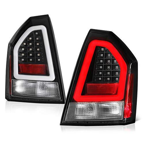 300 Led Tail Lights Lamps - VIPMOTOZ Black Bezel Premium OLED Neon Tube LED Tail Light Housing Lamp Assembly For 2005-2007 Chrysler 300C Driver and Passenger Side Replacement