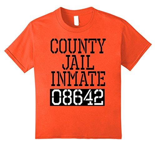Kids County Jail Inmate Funny Shirt - Quick Halloween Costume 10 Orange