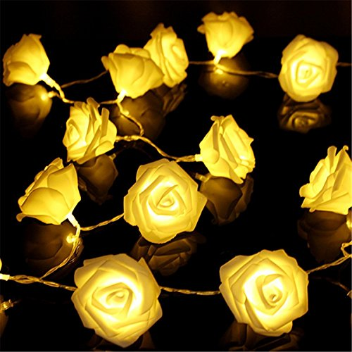 (VIPMOON Flower Rose String Lights,2M/6.56ft 20LED String Lights Bright Warm Rose Flower Lamp Fairy Light,Battery Operated Light for Valentine's Wedding Gardens Party Christmas Decoration - Warm White)